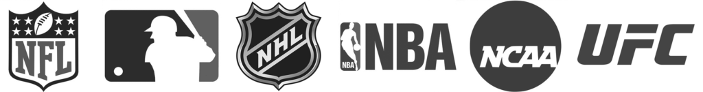 NCAA, NBA, UFC, NFL, MLB, and NHL logos